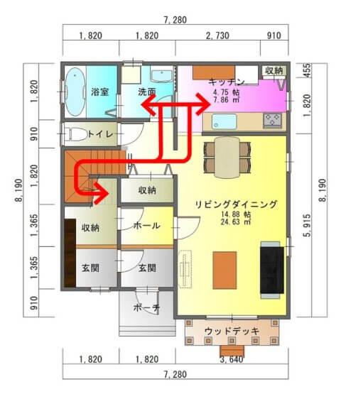 バルコニーのある家1-平面図( 1 階)a