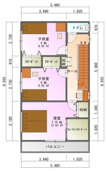 狭小間口の家1-平面図( 2 階)