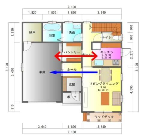 ガレージのある家1-平面図( 1 階)a