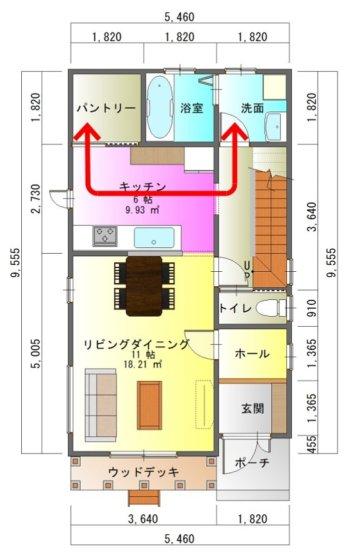 狭小間口の家1-平面図( 1 階)a
