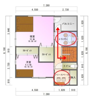 フリースペースのある家-平面図( 2 階)a