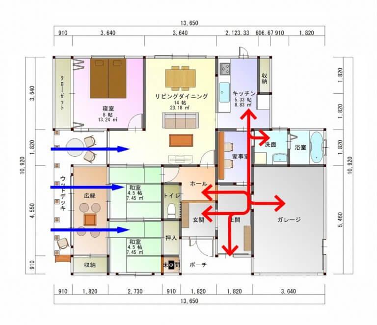 平屋建ての家-平面図( 1 階)a