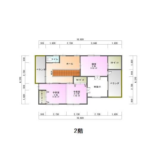 皇徳寺くらら台モデルハウス-平面図2F