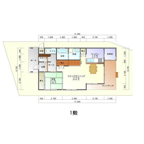 皇徳寺くらら台モデルハウス-平面図1F
