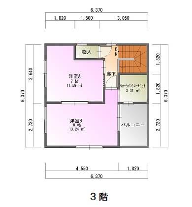 新栄町3階建て-平面図3F