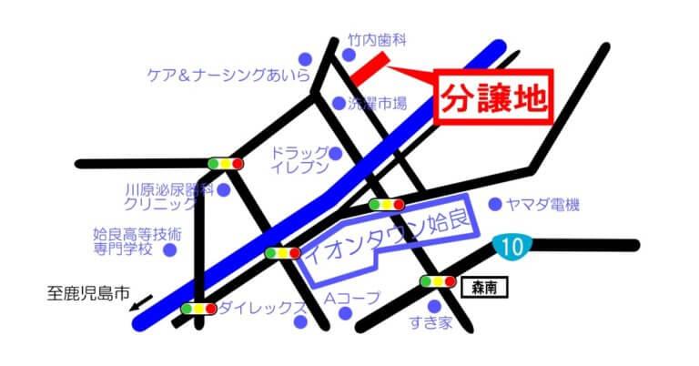 map姶良市西餅田分譲地