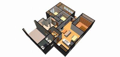 平屋建ての家-鳥瞰( 1 階)a