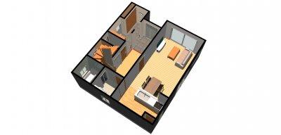 たっぷり収納の家1-鳥瞰( 1 階)