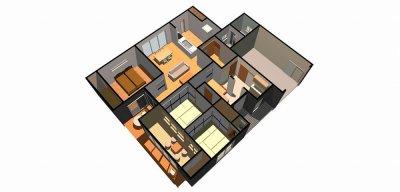 平屋建ての家-鳥瞰( 1 階)b