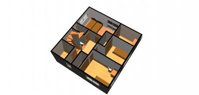 たっぷり収納の家1-鳥瞰( 2 階)